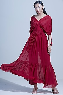 Red Ruched Maxi Dress by Twinkle Hanspal