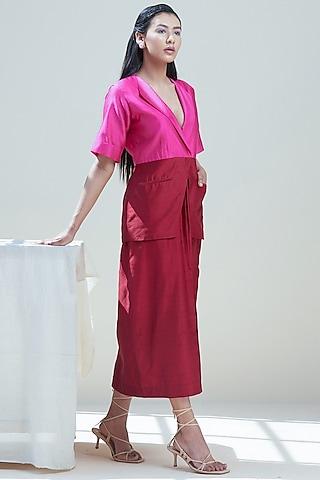 Red & Fuchsia Paneled Blazer Dress by Twinkle Hanspal