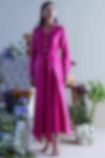 Fuchsia Handloom Chanderi Jumpsuit by Twinkle Hanspal