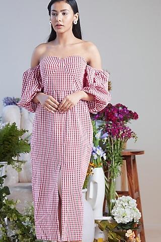 Pink Off Shoulder Midi Dress by Twinkle Hanspal