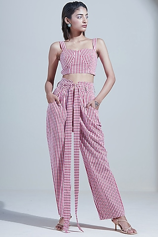 Pink Cotton Gingham Pant Set by Twinkle Hanspal