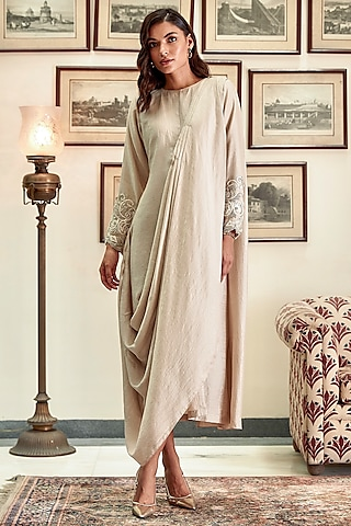 Ivory Embroidered Tunic Draped Saree by Twinkle Hanspal