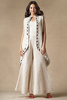 White Embroidered Asymmetric Jacket by Twenty Nine