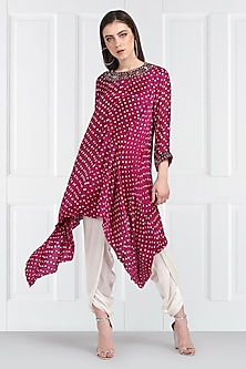 Pink Embroidered Bandhani Tunic by Twenty Nine-SHOP BY STYLE