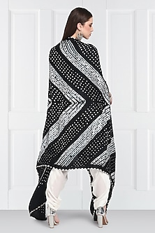 Black Bandhani Cape With Buttons by Twenty Nine