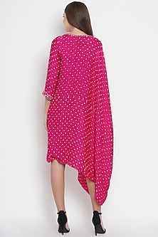 Pink Bandhani Embroidered Cape Tunic by Twenty Nine