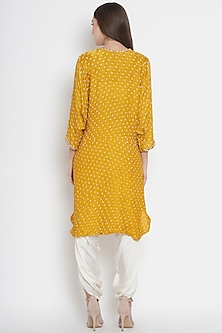 Yellow Embroidered Tunic With Kimono Sleeves by Twenty Nine