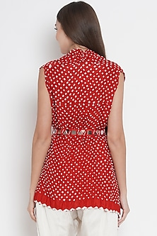 Red Cape Top With Embroidered Belt by Twenty Nine