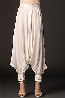 White Embroidered Poncho Dhoti Pants by Twenty Nine