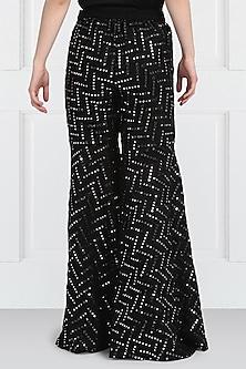 Black Embroidered Sharara Pants by Twenty Nine