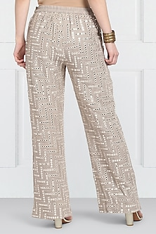 Grey Embroidered Palazzo Pants by Twenty Nine