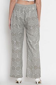 Grey Lucknowi Embroidered Palazzo Pants by Twenty Nine
