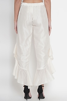 White Chanderi Ruffled Pants by Twenty Nine