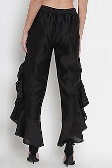 Black Chanderi Ruffled Pants by Twenty Nine