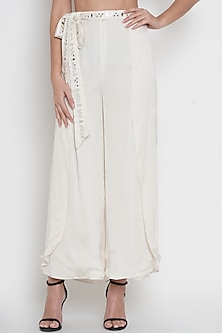 White Embroidered Slit Pants by Twenty Nine