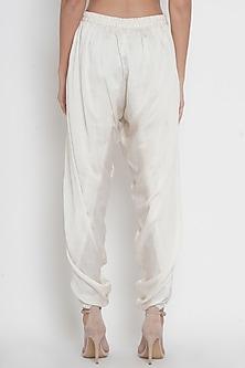 White Embroidered Dhoti Pants by Twenty Nine