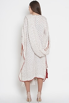 White Embroidered Draped Tunic by Twenty Nine