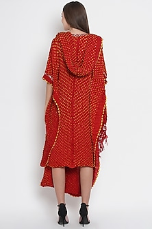 Red Embroidered Draped Tunic by Twenty Nine