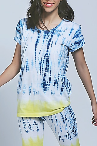 White Tie-Dye Top With Shorts by Tuna X Sonam Luthria