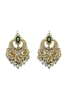 Gold Handcrafted Earrings With Polki Diamonds & Precious Stones by Tyaani