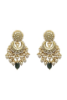 Gold Chandbali Earrings With Pearls & Polki Diamonds by Tyaani