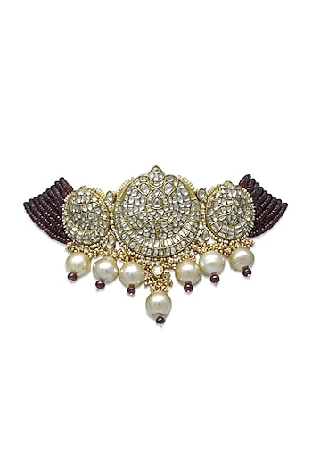 Gold Handcrafted Choker Necklace With Ruby & Polki by Tyaani