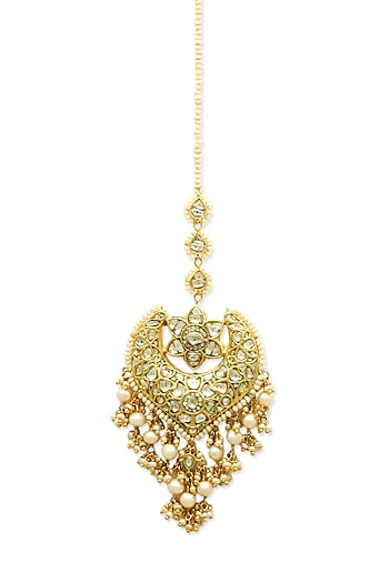 Gold Floral Maang Tikka With Polkis & Pearls by Tyaani