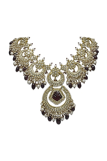 Gold Necklace With Rubies, Pearls & Polkis by Tyaani