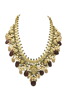 Gold Long Necklace With Morganite Droplets & Polkis by Tyaani