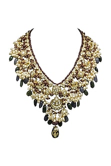 Gold Long Necklace With Polkis, Pearls & Emeralds by Tyaani