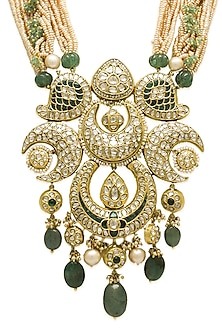 Gold Long Necklace With Pearls, Polkis & Emeralds by Tyaani