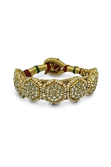Gold Floral Bracelet With Polkis & Pearls by Tyaani