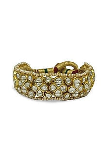 Gold Ponchi Bracelet With Polkis & Freshwater Pearls by Tyaani