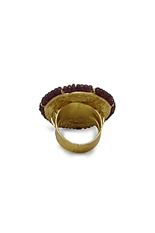 Gold Ring With Polkis & Rubies by Tyaani
