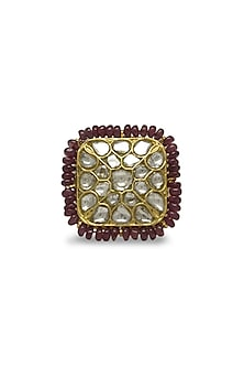 Gold Geometric Ring With Polkis & Rubies by Tyaani