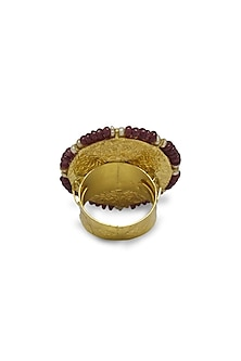 Gold Cocktail Ring With Polkis & Rubies by Tyaani