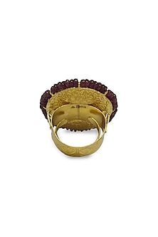 Gold Ring With Uncut Polkis & Rubies by Tyaani