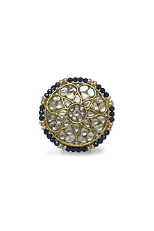 Gold Ring With Polkis & Iolite Beads by Tyaani