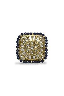 Gold Ring With Polkis, Pearls & Iolite Beads by Tyaani