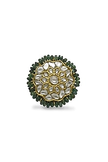 Gold Ring With Polkis & Emerald Beads by Tyaani