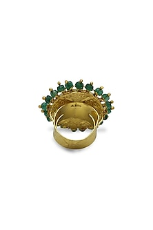 Gold Floral Ring With Polkis & Emerald Beads by Tyaani