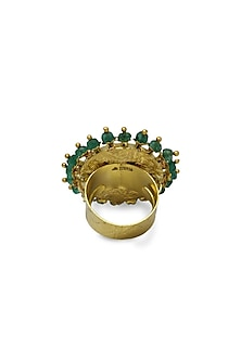 Gold Cocktail Ring With Polkis & Emerald Beads by Tyaani