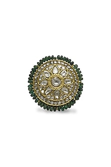 Gold Ring With Uncut Polkis & Emerald Beads by Tyaani