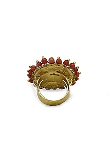 Gold Ring With Uncut Polkis & Coral Beads by Tyaani