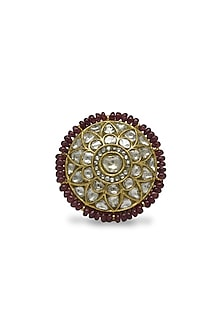 Gold Ring With Uncut Polkis & Ruby Beads by Tyaani