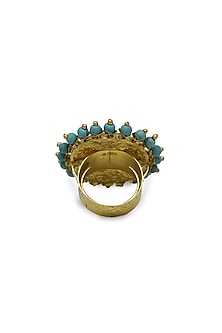 Gold Ring With Polkis & Turquoise Beads by Tyaani
