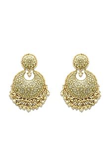 Gold Earrings With Natural Polki Diamonds by Tyaani