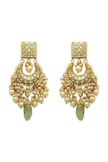 Gold Chandbali Earrings With Polki Diamonds & Russian Emeralds by Tyaani