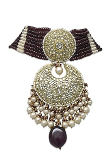 Gold Royal Pendant Choker Necklace With Polkis by Tyaani