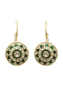 Gold Hoop Earrings With Emeralds & Polkis by Tyaani
